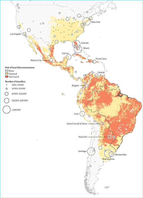 Final destinations of travellers departing Brazil by potential for autochthonous Zika transmission (Image Credit: The Lancet)